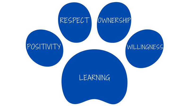 Positivity, Respect, Ownership, Willingness, and Learning