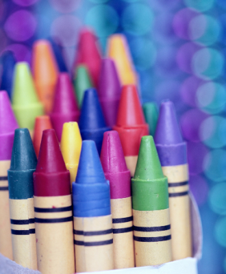 crayons of many colors